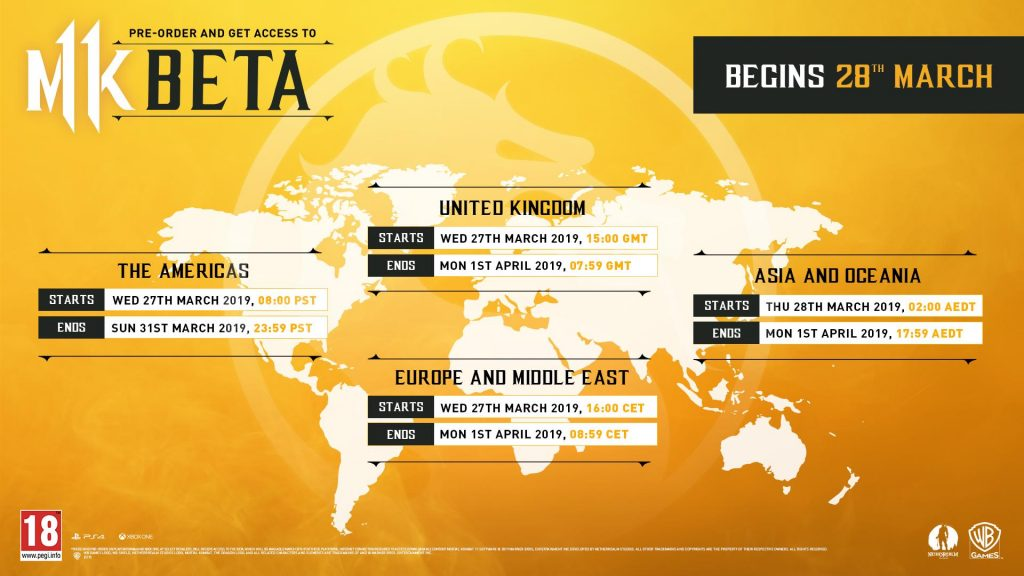 Mortal Kombat 11 fechas beta privada